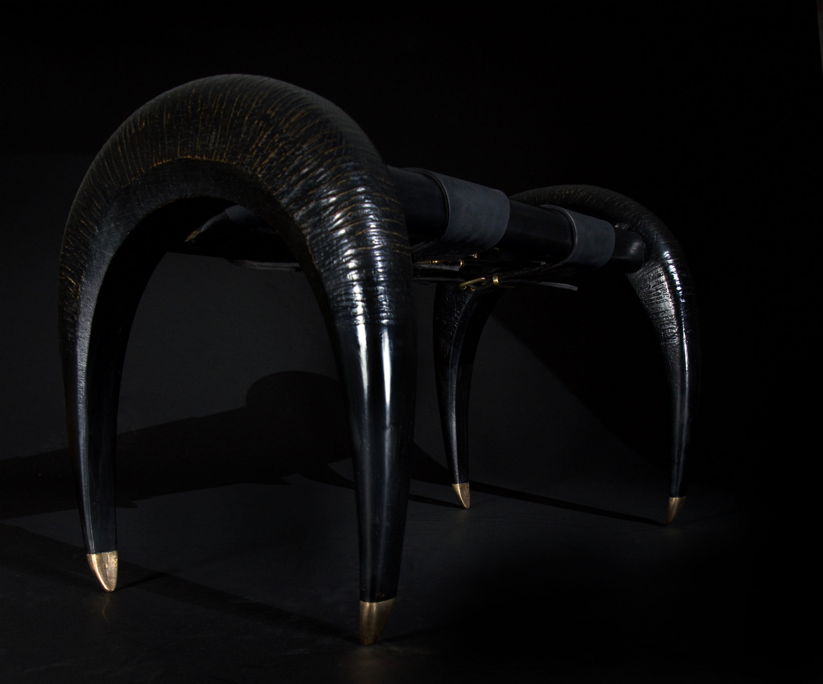 Oak hand carved bench with buffalo leather seat  Erotic furniture Erotic lighting swallowandbone.com